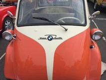 BMW Isetta 300 vintage car. Berlin, Germany - May 13, 2017: BMW Isetta 300 classic car. The Isetta is an Italian-designed microcar, Because of its egg shape and royalty free stock images