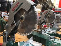 Bosch PCM 8 saw. Berlin, Germany - May 26, 2018: Bosch PCM 8 Laser circular mitre saw, one of DIY and Garden products from Bosch Royalty Free Stock Images