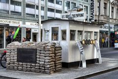 Checkpoint charlie. Berlin, Germany - May 12, 2017; Checkpoint Charlie. The crossing point between East and west Berlin became a symbol of the Cold War royalty free stock images