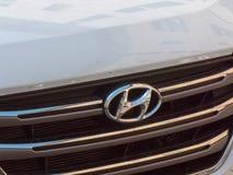 Hyundai car logo. Berlin, Germany - May 3, 2018: Hyundai car emblem. The Hyundai Motor Company is a South Korean multinational automotive manufacturer royalty free stock photo