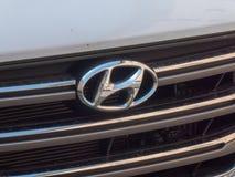 Hyundai car logo. Berlin, Germany - May 3, 2018: Hyundai car emblem. The Hyundai Motor Company is a South Korean multinational automotive manufacturer royalty free stock images