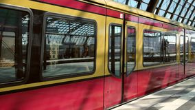 Passenger train arriving at Berlin Hauptbahnhof Central Station, the main railway station in Berlin. Berlin, Germany - May 21, 2019 : Passenger train arriving at stock video