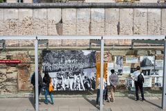 People at the Topography of Terror German: Topographie des Ter. Berlin, Germany - may, 2018: People at the Topography of Terror German: Topographie des Terrors royalty free stock images