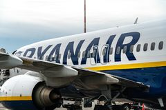 Ryanair aircraft. Berlin, Germany - May 3, 2019: Ryanair airplane. Ryanair Ltd. is an Irish low-cost airline with its primary operational bases at Dublin and stock photos