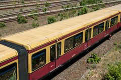 S-Bahn train on multi lane rail / railroad network at Berlin Oly Royalty Free Stock Photography