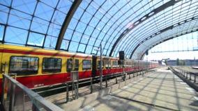 BERLIN, GERMANY MAY 27 2017 Train arriving on Berlin Hauptbahnhof unfocused.