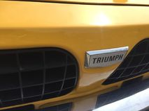Triumph vintage car. Berlin, Germany - May 13, 2017: Triumph vintage car. The Triumph TR range of cars was built between 1953 and 1981 by the Triumph Motor royalty free stock image