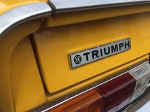 Triumph vintage car. Berlin, Germany - May 13, 2017: Triumph vintage car. The Triumph TR range of cars was built between 1953 and 1981 by the Triumph Motor stock photography