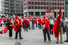 Berlin, Germany - May 28, 2016: Turkish groups protest vote on Armenian genocide resolution. stock photography
