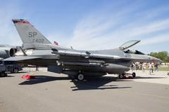USAF F-16 fighter jet. BERLIN, GERMANY - MAY 22, 2014: US Air Force F-16C at the International Aerospace Exhibition ILA stock photos