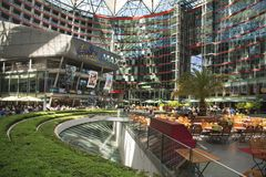 Sony Center in Berlin, Germany. BERLIN, GERMANY - MAY 24, 2018: View of the Sony Center, which contains restaurants, shops, hotels, a conference center, offices Royalty Free Stock Images