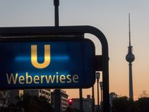 Weberwiese U-Bahn station sign in Berlin, Germany. Berlin, Germany - May 5, 2018: Weberwiese U-Bahn station sign, located on the U5 line under Karl-Marx-Allee Stock Photos