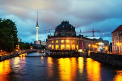 Museum island on Spree river and Alexanderplatz TV tower in Berlin, Germany Royalty Free Stock Images