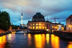 Museum island on Spree river and Alexanderplatz TV tower in Berlin, Germany. Berlin, Germany. Museum island on Spree river and Alexanderplatz TV tower in Berlin royalty free stock images
