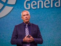 NetApp vice president Henri Richard makes speech at Insight Stock Photo