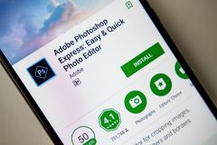 Berlin, Germany - November 19, 2017: Adobe Photoshop Express application in modern smartphone stock images