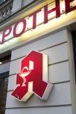 Apotheke, pharmacy store sign in German language. Berlin, Germany - November 23, 2017: Apotheke, pharmacy store sign in German language outside a store Royalty Free Stock Photos