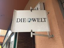 Die Welt daily newspaper sign stock photo