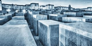 BERLIN, GERMANY - OCT 17, 2013: View of Jewish Holocaust Memorial at night, Berlin, Germany.  stock photography