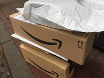 Amazon Prime Boxes stock image