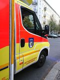 German ambulance service. Berlin, Germany - October 30, 2018: Ambulance service first aid. 112 is the single European emergency number that can be dialed free of royalty free stock photo