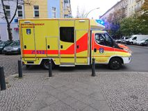 German ambulance service. Berlin, Germany - October 30, 2018: Ambulance service first aid. 112 is the single European emergency number that can be dialed free of stock images