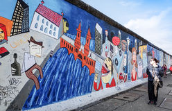 BERLIN, GERMANY- October 15, 2014: Berlin Wall was a barrier con Stock Images
