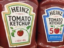 Heinz ketchup. Berlin, Germany - October 18, 2018: Heinz ketchup. First introduced in 1876, Heinz Tomato Ketchup is a brand of ketchup produced by the H. J royalty free stock photo