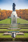 BERLIN, GERMANY - OCTOBER 02, 2016: Monument to Soviet soldier holding at the hands German child at Soviet War Memorial Royalty Free Stock Photos