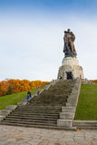 BERLIN, GERMANY - OCTOBER 02, 2016: Monument to Soviet soldier holding at the hands German child at Soviet War Memorial Royalty Free Stock Images