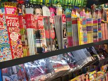 Magazines cover pages. Berlin, Germany - October 10, 2018: Newsstand interior, cover pages of German magazines displayed on a stand for sale royalty free stock photo