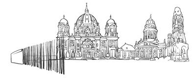 Berlin Germany Panorama Sketch. Monochrome Urban Cityscape Vector Artprint Royalty Free Stock Photography