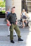Berlin, Germany. The policeman near the Brandenburg gate Stock Photo