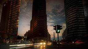 Berlin, Germany- Potsdamer Platz at dusk with traffic light,. Berlin, Germany- Potsdamer Platz at night , long exposure Stock Photo