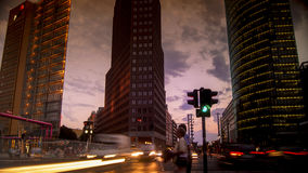 Berlin, Germany- Potsdamer Platz at dusk with traffic light,. Berlin, Germany- Potsdamer Platz at night , long exposure Stock Photos