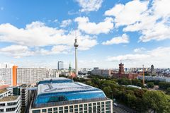 Berlin city skyline with TV tower Rotes Rathaus Royalty Free Stock Images