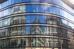 Glass facade of Galeries Lafayette building in Berlin, Germany Stock Images
