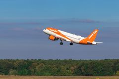 BERLIN, GERMANY - September 7, 2018:easyJet, Airbus A320-214 takes off from Tegel airport in Berlin. royalty free stock photo