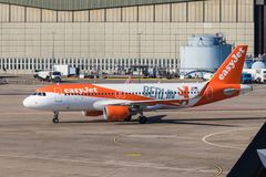 BERLIN, GERMANY-September 7, 2018: easyJet Berlin Livery, Airbus A320-214 at Berlin Tegel airport. In the background, the stock photo
