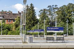 Olympiastadion S-Bahn station in Berlin, Germany Stock Images