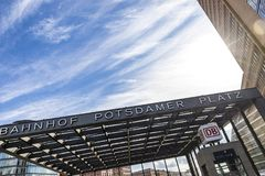 Entrance to the Potsdamerplatz Railway Station in Berlin Stock Images