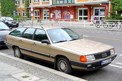 Audi 100 Avant. Berlin, Germany - September 12, 2013: Motor car Audi 100 Avant in the city street royalty free stock photos