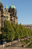 The Berliner Dom on Museum Island. Berlin, Germany- September 18, 2018: the park Lustgarten , the Berliner Dom on Museum Island, one of Museum Island`s main royalty free stock images