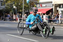 Handbiker during Berlin Marathon 2018. royalty free stock image