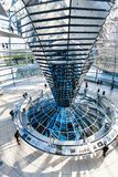 Tourists in interior of Reichstag dome in Berlin Royalty Free Stock Photography