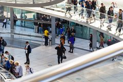 Tourists in Reichstag building in Berlin city Stock Images