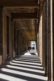Visitors in passage on Museum Island in Berlin. BERLIN, GERMANY - SEPTEMBER 13, 2017: visitors in arcade passage on Museum Island in Berlin city in september Stock Photo