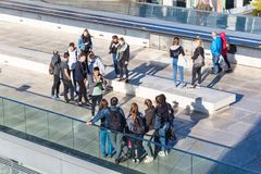 Young visitors in Reichstag building in Berlin Stock Photo