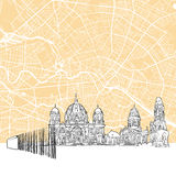 Berlin Germany Skyline Map Fotografia Stock