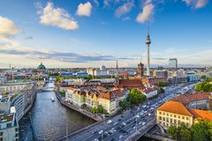 Berlin, germany Skyline. Over the Spree River stock photography